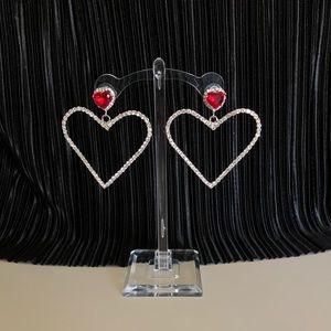 Vintage Jewelry - Jeweled ruby oversized heart shape earrings